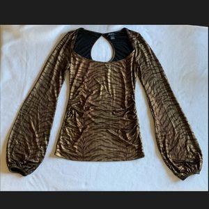 Arden B Brown/Gold Animal Print Long Sleeve Blouse
